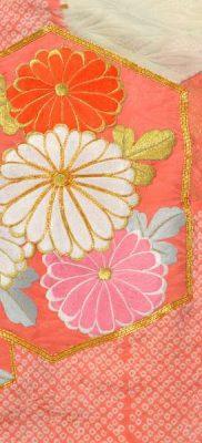 Фрагмент фурисодэ (тканый рисунок, вышивка, роспись сибори, роспись камон)